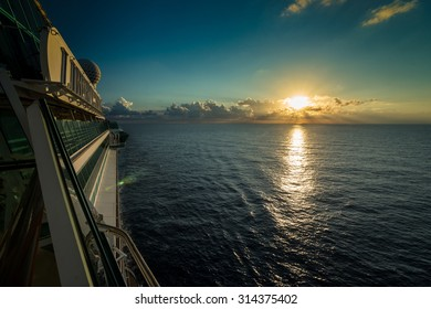 Sunrise from cruise ship board, Caribbean