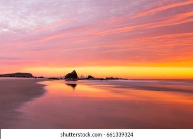 Sunrise at Currumbin beach on the Gold Coast, Queensland, Australia