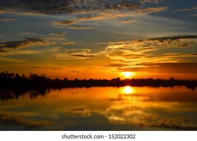 Sunrise dawn. In rural Thailand. A beautiful shadow.
