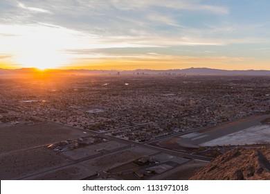 Sunrise dawn view of Las Vegas from Lone Mountain Peak in Clark County Nevada.