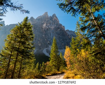 Sunrise in Dolomites mountains in autumn