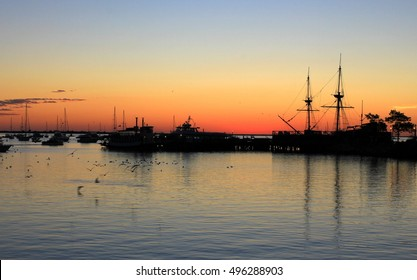 Sunrise- double masted ship- Plymouth Harbor