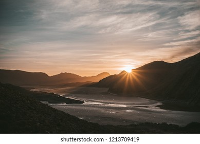 Sunrise at the dried out Gamkapoort Dam near Prince Albert in the Karoo desert, South Africa