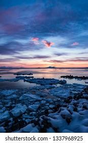 Sunrise and drift ice