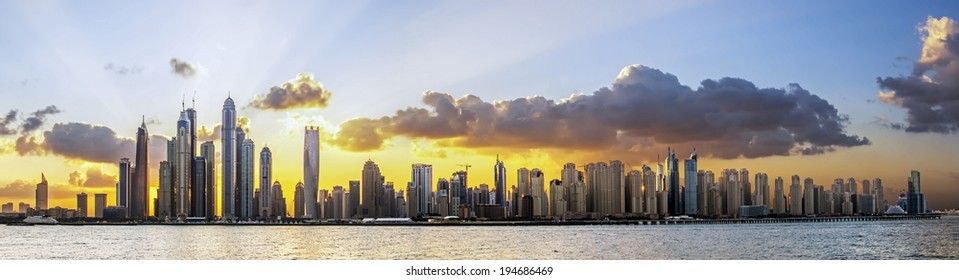Sunrise in Dubai Marina, Dubai, UAE.