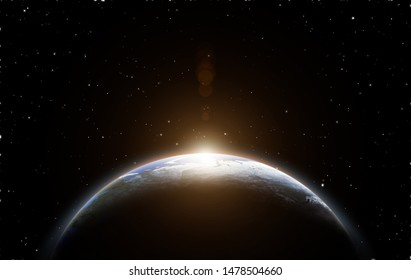 Sunrise and Earth view from space.(Elements of this image furnished by NASA)