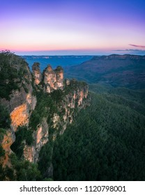 Sunrise at Ecco Point - Three Sisters -Blue Mountains National Park, New South Wales, Australia. The name of Blue Mountains comes from the distinctive blue haze caused by oil bearing Eucalyptus trees.