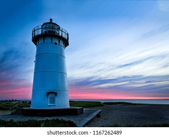 Sunrise Edgartown lighthouse with dramatic pink color