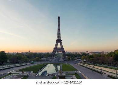 Sunrise in Eiffel Tower in Paris, France. Eiffel Tower is famous place in Paris, France.