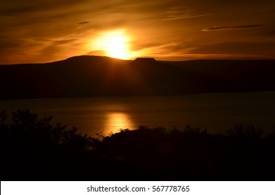 Sunrise at Elephant Butte Lake in New Mexico.