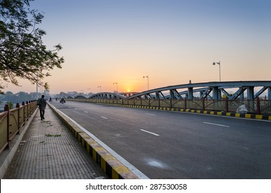 Sunrise at Ellis Bridge in Ahmedabad, Gujarat, India