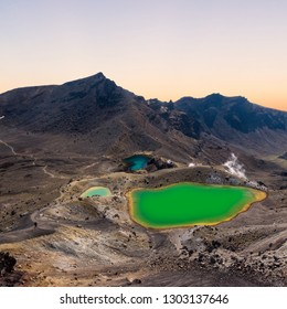 Sunrise at the Emerald Lakes at the popular Tongariro Alpine Crossing hike in New Zealand