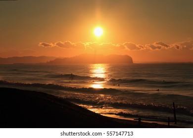 Sunrise from Enoshima in Japan