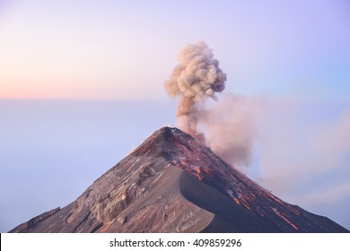 Sunrise eruption at Volcan Fuego in Guatemala