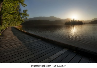 Sunrise at Famous Bled Lake National Park Slovenia