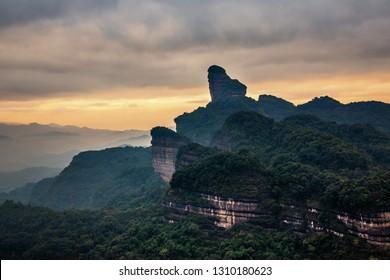 Sunrise at  the famous Mount Danxia, Guangdong, China