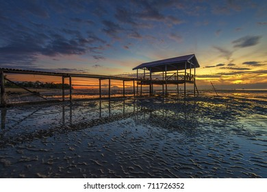 Sunrise at fisherman jetty at Kuala Penyu,Sabah,Borneo.Kuala Penyu is a small town in south west of Sabah, and majority of the population there are Dusun Tatana, Orang Brunei, and Bisaya people.