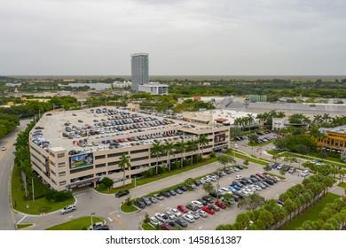 SUNRISE, FL, USA - JULY 18, 2019: Aerial photo Sawgrass Mills Outlet Mall Sunrise Florida USA