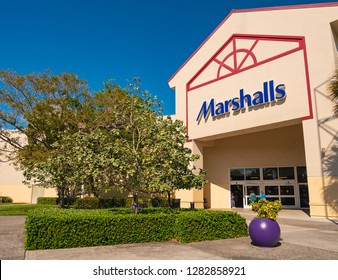 Sunrise, Florida, USA - January 08, 2019 : Marshalls store is an American chain of department stores owned by TJX. Marshalls has more than 750 stores in The United States and Canada.