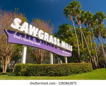 Sunrise, Florida, USA - January 08, 2019 : Sawgrass Mills outlet and famous shopping center and mall in Florida, United States.