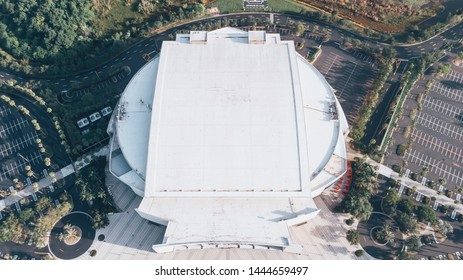 Sunrise, Florida/USA - July 07, 2019: Aerial view on BB&T Center indoor arena and home for the Florida Panthers NHL hockey team. Elements of landscape design.
