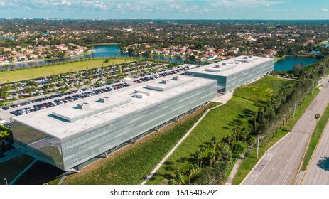 Sunrise, Florida/USA - September 26, 2019: Aerial View on American Express Company Administrative Building in Sunrise, Fl, also known as AMEX, is an American multinational financial services.