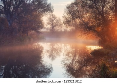 Sunrise and fog on a small river