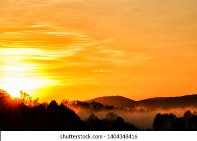 Sunrise and fog over the Allegheny Mountains of West Virginia, USA