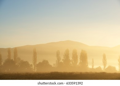 Sunrise with fog in the Pyrenees, Huesca Province, Aragon, Spain.