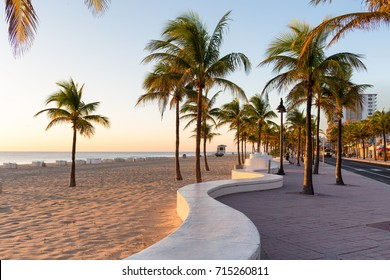 Sunrise at Fort Lauderdale Beach and promenade, Florida