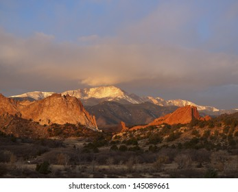 Sunrise at Garden of the Gods Rock Formation in Colorado.