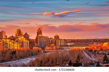 Sunrise glowing over downtown Calgary