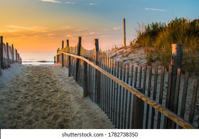 Sunrise glows at the Atlantic seashore at Marine St. in Beach Haven, New Jersey