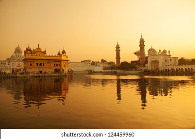 Sunrise at Golden Temple in Amritsar, Punjab, India.