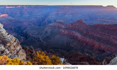 Sunrise at Grand Canyon Marther Point, Arizona on a sunny morning in fall
