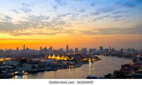 Sunrise with Grand Palace of Bangkok, Thailand