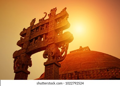 Sunrise at The Great Sanchi Stupa, Buddhist Architecture at sanchi, Madhya Pradesh, India