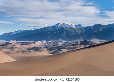 Sunrise at Great Sand Dunes National Park with the Sangre De Cristo Mountains in the Background