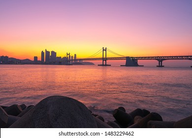 Sunrise of Gwangan bridge at haeundae in Busan,South Korea.