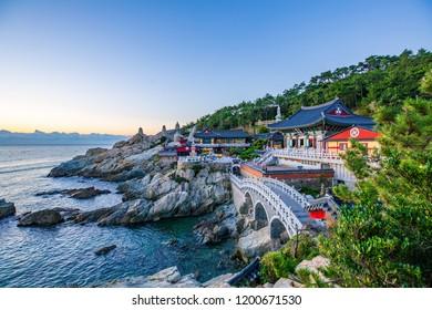 Sunrise at Haedongyonggungsa Temple in Busan South Korea , 25 September 2018 in Busan South Korea