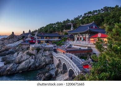 Sunrise at Haedongyonggungsa Temple View in Busan South Korea , 25 September 2018 in Busan South Korea