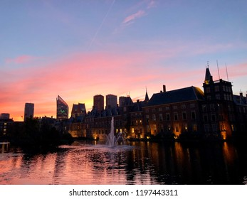 Sunrise in The Hague over the governmental buildings including parliament, het torentje, het binnenhof en buitenhof