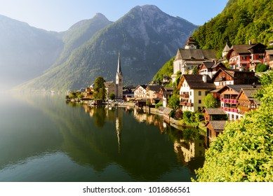 Sunrise in Hallstatt mountain village with Hallstatter See in Summer, Austria