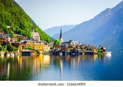 Sunrise at Hallstatt village in Austria. Popular and the most visited place for tourists.