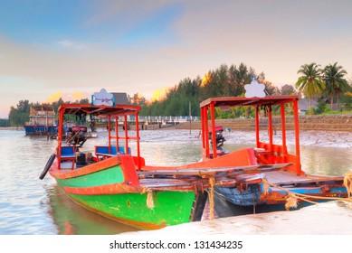 Sunrise at the harbor of  Thailand