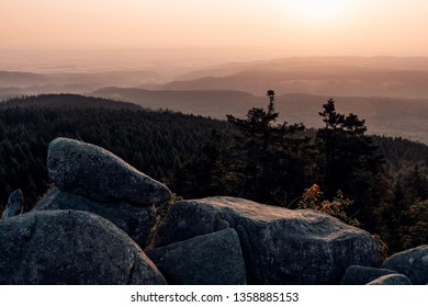 Sunrise in the Harz mountains - view from the Hohneklippen
