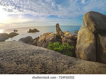 "Sunrise At "" Hinta Hinyai "" Tourist Attraction In Ko Samui , Surat Thani Province , Thailand"
