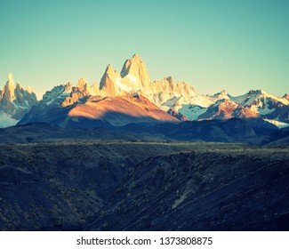 Sunrise hitting Fitz Roy Mountains in Patagonia Argentina