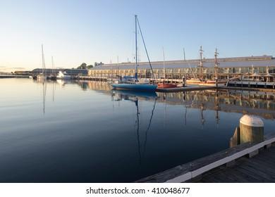 Sunrise in Hobart waterfront