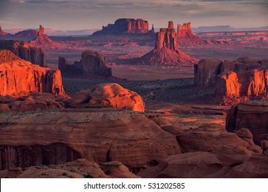 Sunrise in Hunts Mesa navajo tribal majesty place near Monument Valley, Arizona, USA